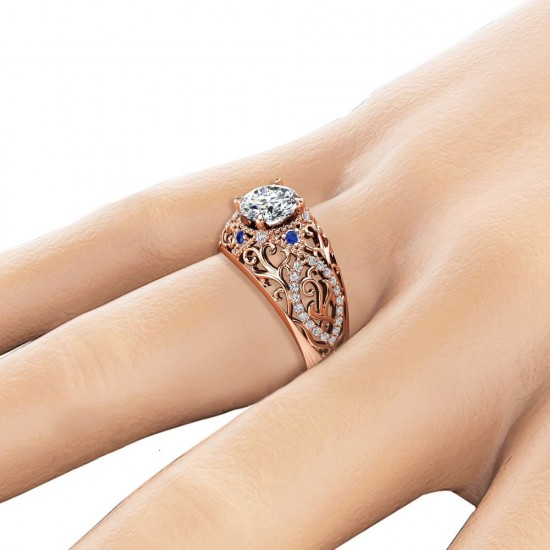 Luxury Filigree Design White Sapphire Gold Plated Rings R-33 |image