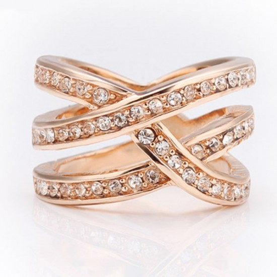 Double Cross CZ Alloy Rose Gold Plated Rings R-43 |image