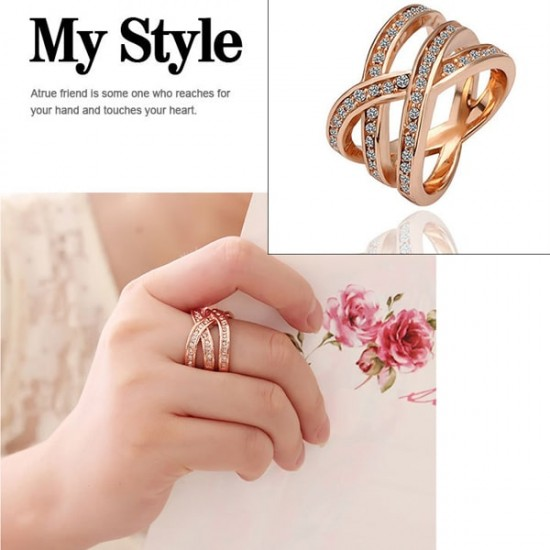 Double Cross CZ Alloy Rose Gold Plated Rings R-43  image