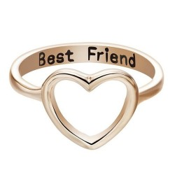 Gold Plated Best Friendship Heart Rings R-46G