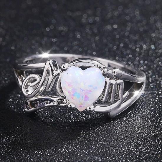 Fire Opal Heart Mom Gift European Style Rings R-49 |image