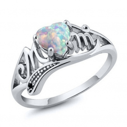 Fire Opal Heart Mom Gift European Style Rings R-49