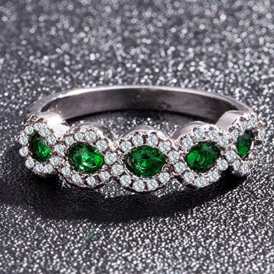 Cross Border Inlaid Green Zircon Women's Rings R-48GN |image
