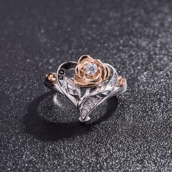 Flower Shaped Gold Plated Heart Love Rings R-51 |image