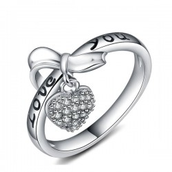 Love Heart Shaped Bow Diamond Sterling Silver Rings R-57S