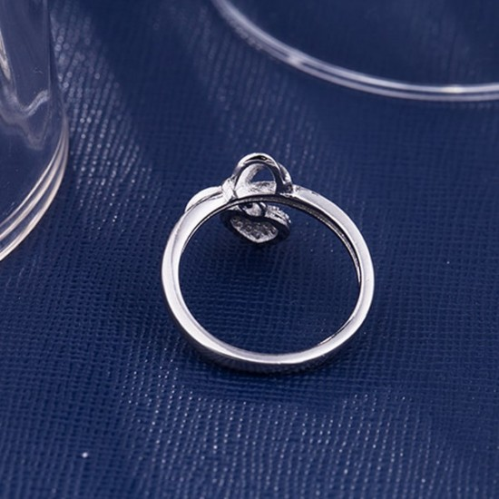 Love Heart Shaped Bow Diamond Sterling Silver Rings R-57S |image
