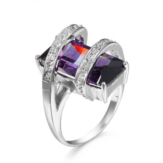 Cross Border Creative Fashion Purple Zircon Rings R-54 |image
