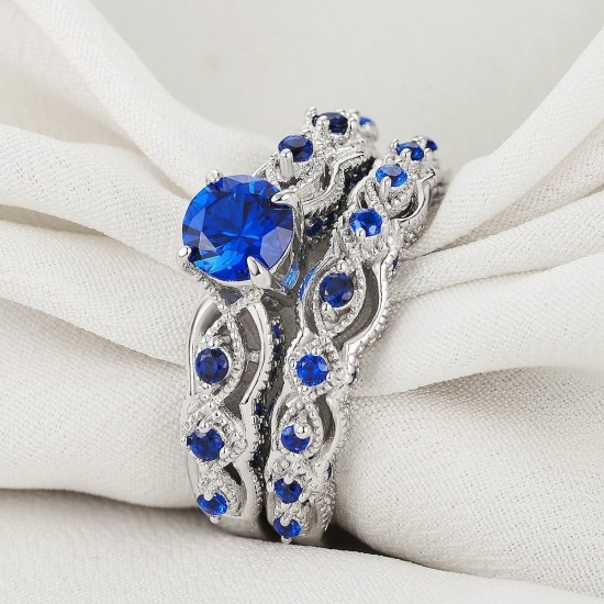 Blue Eternity Sapphire Double Sterling Silver Rings R-55 |image