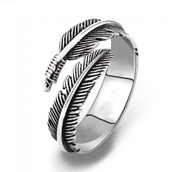 Vintage Feather Double Leaf Zinc Alloy Rings R-53 |image