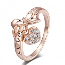 Love Heart Shaped Bow Diamond Sterling Gold Rings R-57G