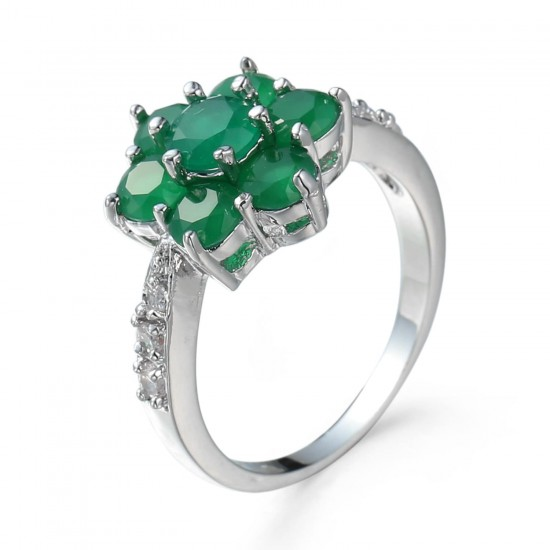 Creative Fashion Green Color New Ladies Flower Pattern Rings R-58GN |image