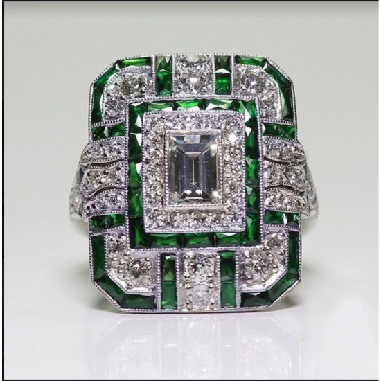 Antique Art Deco Silver Plated Green Sapphire Rings R-60GN |image