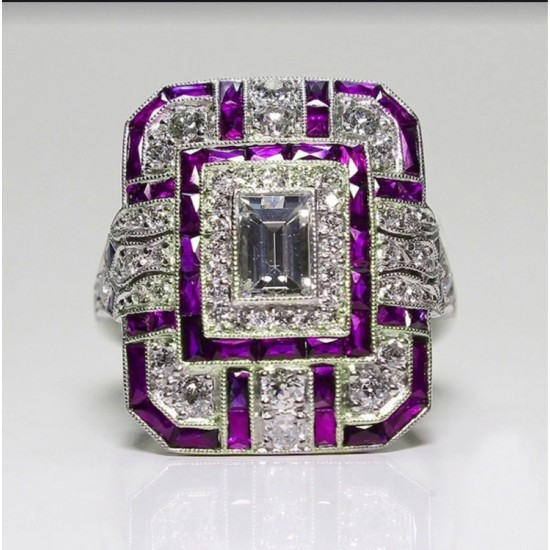 Antique Art Deco Silver Plated Purple Sapphire Rings R-60PR |image