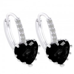 Heart Design Black Zircon Crystal Dangle Earrings E-26BK