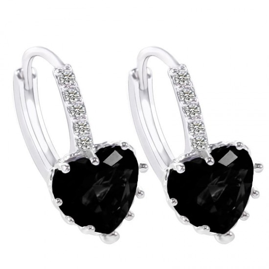 Heart Design Black Zircon Crystal Dangle Earrings E-26BK |image
