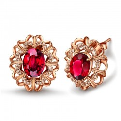 Red Crystal Rose Gold Exquisite Stud Earrings E-29