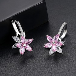 Snowflake Clear Pink Stone Flower Shape Earrings E-30PK