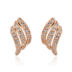 Diamonds Rows Wave Design Gold Plated Stud Earrings E-31GD