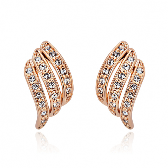 Diamonds Rows Wave Design Gold Plated Stud Earrings E-31GD |image