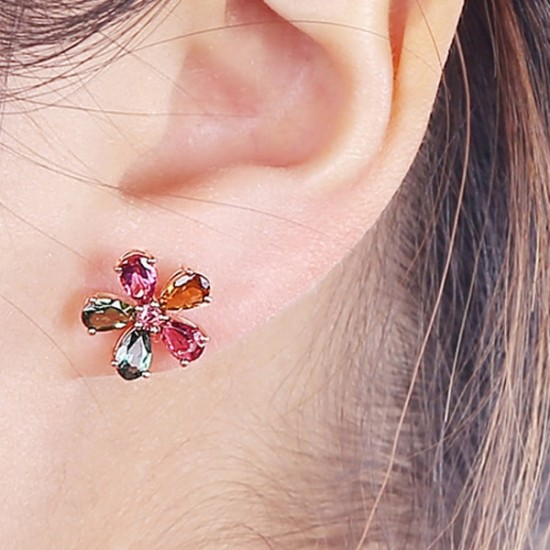 Fashion Flower Design Multi Color Diamonds Stud Earrings E-34  image