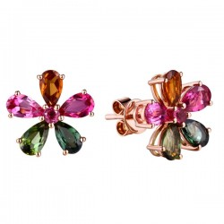 Flower Design Multi Color Diamonds Stud Earrings E-34