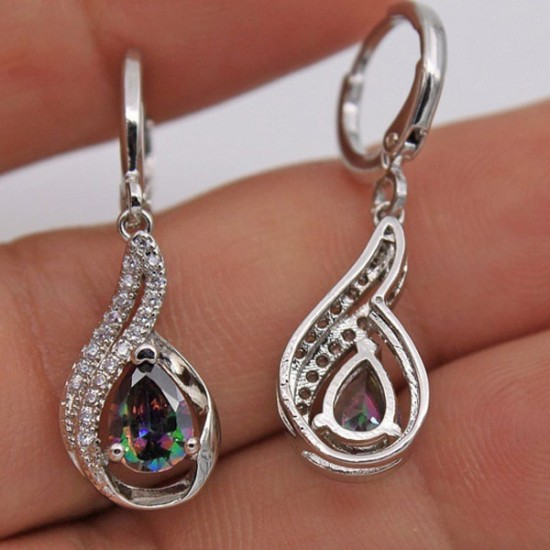 Rainbow Topaz Gemstone Drop Shaped Earrings E-37 |image