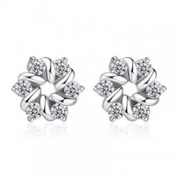 White CZ Diamonds Flower Hoop Stud Earrings E-39