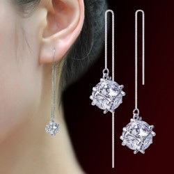 Square Cubes Sterling Silver Tassel Earrings E-40