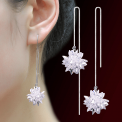 Ice Flower Ball Sterling Silver Tassel Earrings E-41