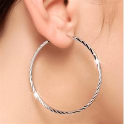 Silver Alloy Round Big Hoop Earrings E-43