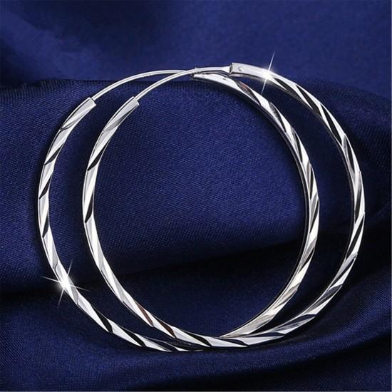 Silver Alloy Round Big Hoop Earrings E-43  image