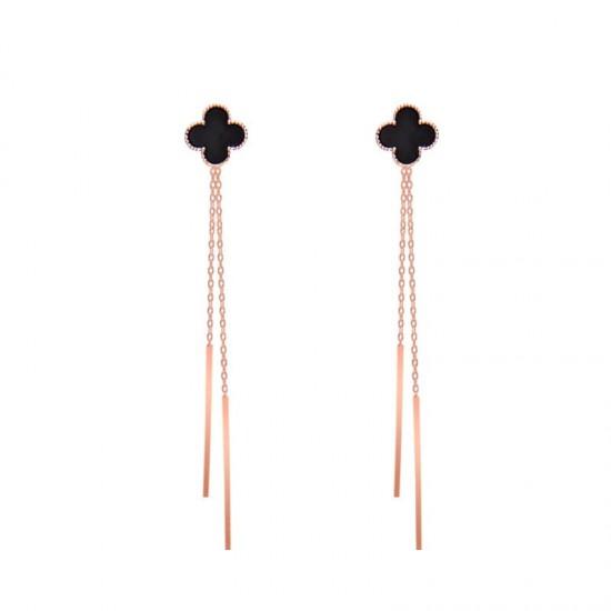 Long Paragraph Tassel Gold Earrings E-45G |image