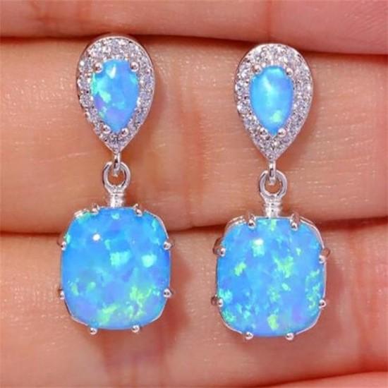 Elegant Blue Color Fire Opal Drop Earrings E-48BL |image