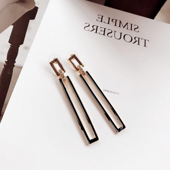 Rectangular Acrylic Design Gold Earrings E-52 |image
