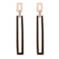 Rectangular Acrylic Design Gold Earrings E-52