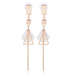 Triangle Shell Simple Design White Marble Earrings E-53W