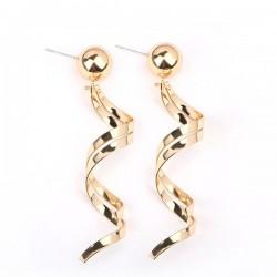 Spiral Retro Modern Gold Long Earrings E-54G
