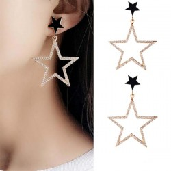 Pentagonal Star Clovar Gold Color Earrings E-58
