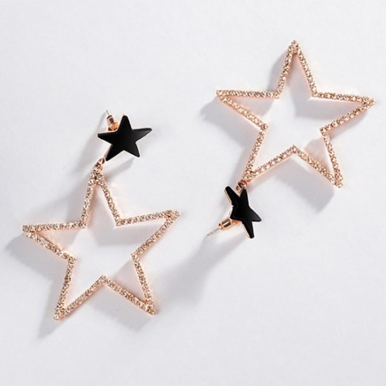Pentagonal Star Clovar Gold Color Earrings E-58 |image