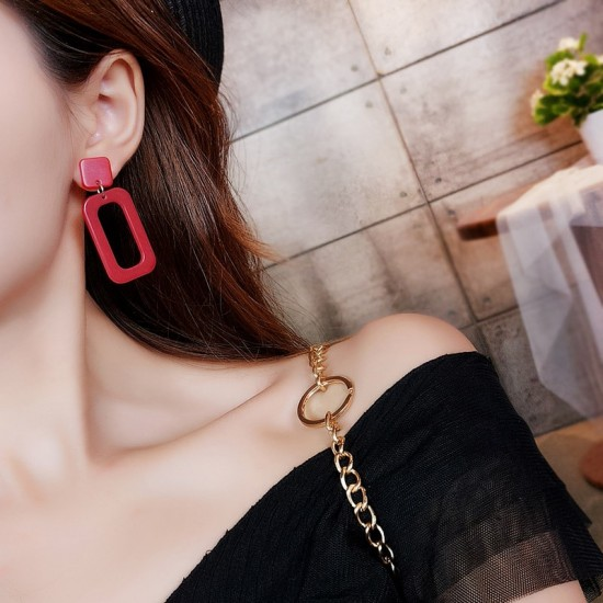 Rectangle Acrylic Red Dangle Earrings E-59RD |image