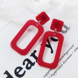 Rectangle Acrylic Red Dangle Earrings E-59RD