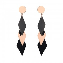 Gold Titanium Black Contrast Long Earrings E-60