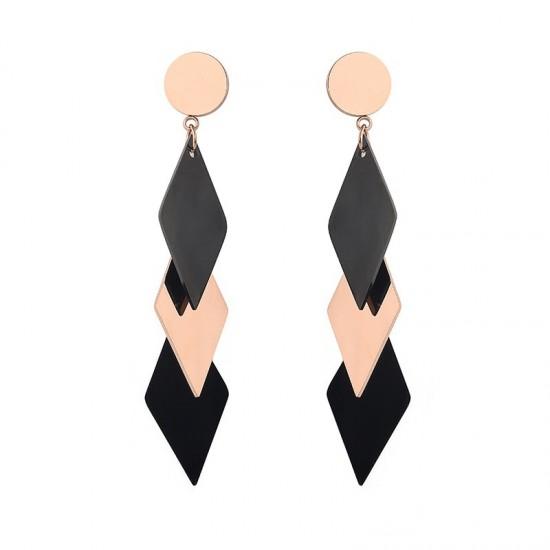 Gold Titanium Black Contrast Long Earrings E-60 |image