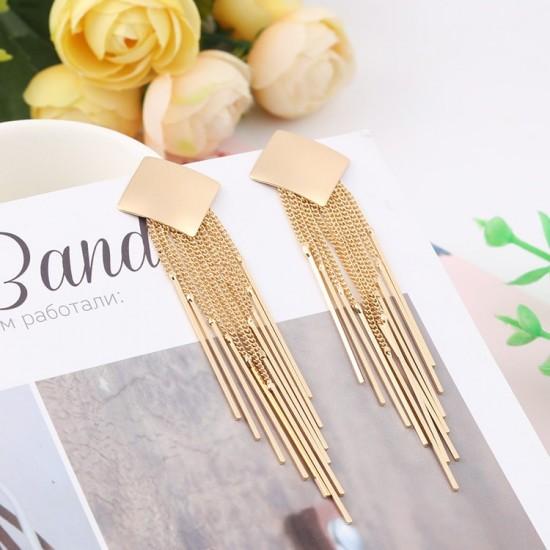 Long Drop Gold Square Tassel Earrings E-62G  image