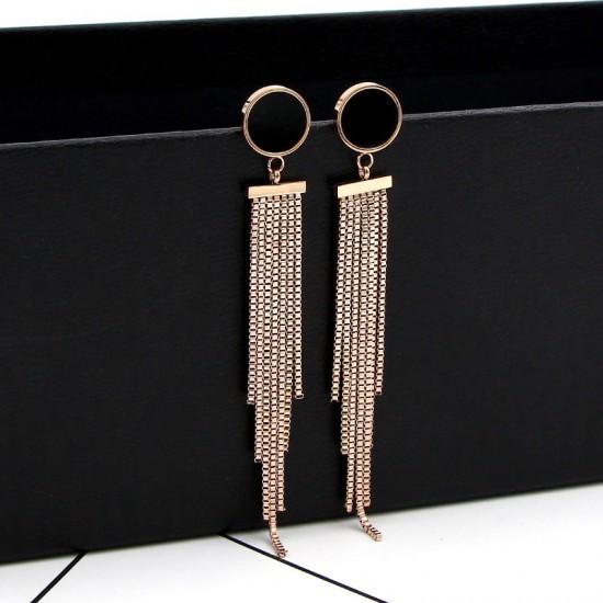 Black Clover Long Chain Rose Gold Tassel Earrings E-63 |image