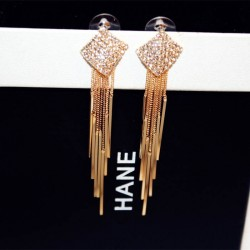 Diamonds Clover Long Chain Gold Tassel Earrings E-64G