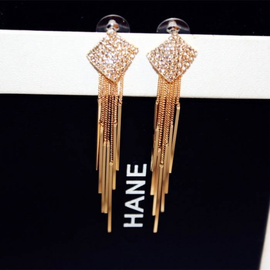 Diamonds Clover Long Chain Gold Tassel Earrings E-64G |image