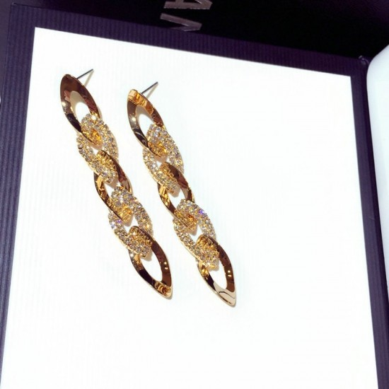 Rhinestone Arrow Hyperbole Long Pendientes Gold Earrings E-65G |image