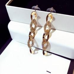 Rhinestone Arrow Hyperbole Long Pendientes Gold Earrings E-65G