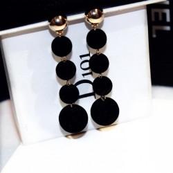 Plush Balls Drop Long Black Color Earrings E-66BK